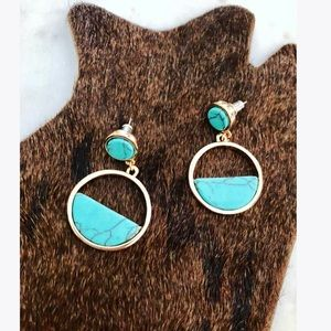 Jewelry - 5🌟Circle Turquoise Marbled Earrings Acrylic Blue